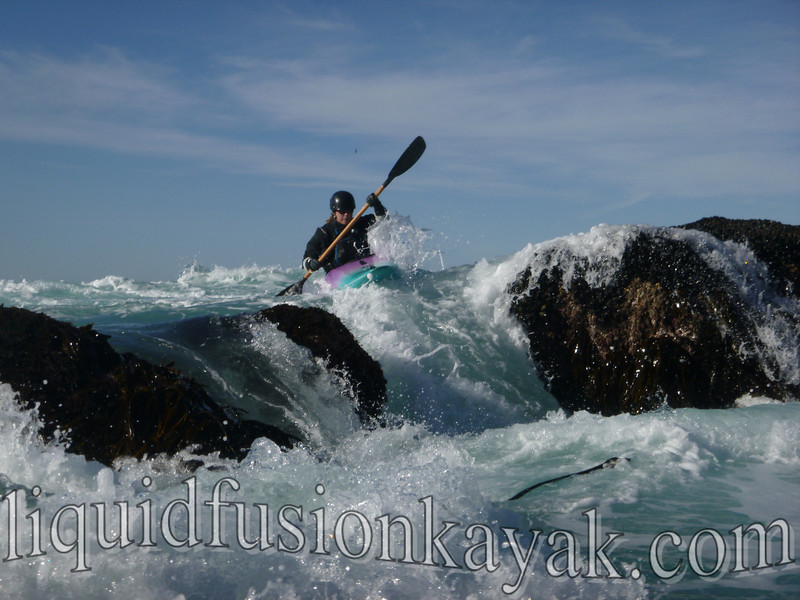 whitewater kayak in ocean rock gardens of mendocino