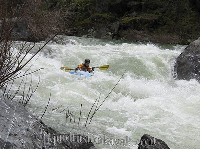 Cate descends Double Drop on the Eel River.