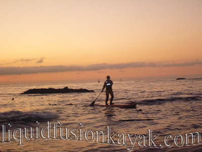 Stand up paddling  in Noyo Bay at Sunset