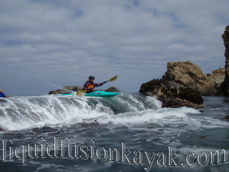 Whitewater ocean kayaking on the Mendocino Coast.